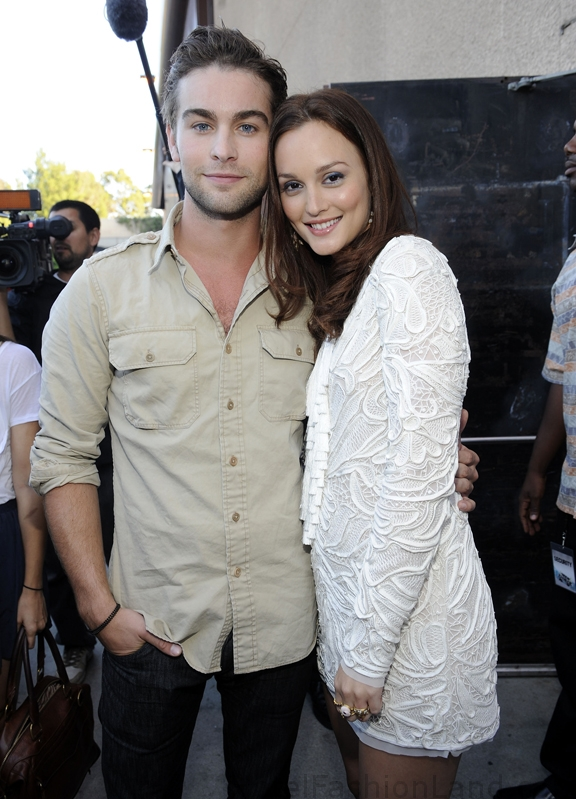 Chase Crawford and Leighton Meester backstage